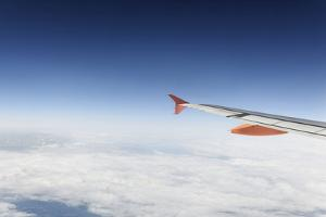 Airplane, Wing, Airbus A320 Above the Clouds, Sky, Horizon by Axel Schmies