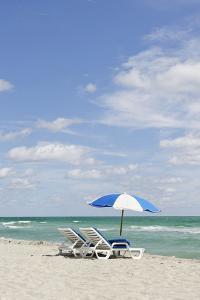 Beach Area at the '44 St', Dumbrella and Loungers, Atlantic Ocean, Miami South Beach, Florida, Usa by Axel Schmies