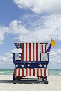 Beach Lifeguard Tower '13 St', with Paint in Style of the Us Flag, Miami South Beach by Axel Schmies
