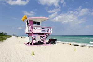 Beach Lifeguard Tower '83 St', Atlantic Ocean, Miami South Beach, Florida, Usa by Axel Schmies