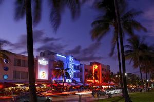Colony Hotel, Facade, Ocean Drive at Dusk, Miami South Beach, Art Deco District, Florida, Usa by Axel Schmies