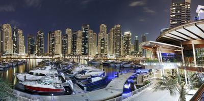 Dubai Marina, Night Photography, Yachts, Tower, Hotels by Axel Schmies