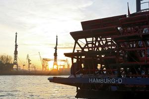 Evening Mood at Hamburg Harbour, Hamburg, Germany, Europe by Axel Schmies