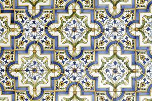 Floral Tile Pattern at House Wall, Province of Obidos, Portugal by Axel Schmies