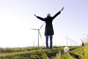 Landscape, Woman, Wind Turbines, Wind Power Station, Wind Park by Axel Schmies