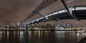 Millenium Bridge, Night Photography, City View with St. Paul's Cathedral, the Thames, London by Axel Schmies