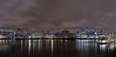 Millenium Bridge, Night Photography, Cityscape with St Paul's Cathedral, the Thames, London by Axel Schmies