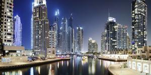 Modern High Rises, Dubai Marina at Night, Dubai, United Arab Emirates by Axel Schmies