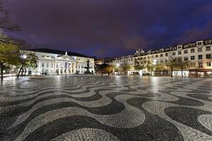 Rossio Square, Night Photography, Lisbon, Portugal by Axel Schmies
