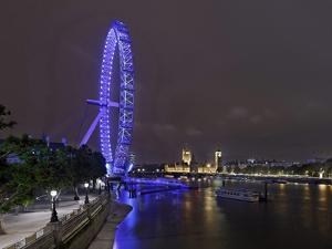 The Thames with London Eye and the Houses of Parliament, Parliament Building, London by Axel Schmies