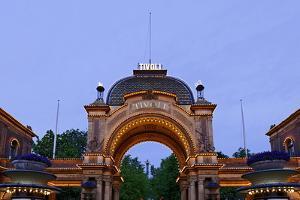 Tivoli, Main Entrance Early in the Evening, Copenhagen, Denmark, Scandinavia by Axel Schmies