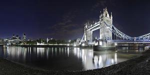 Tower Bridge over the Thames by Night, London, England, Great Britain by Axel Schmies