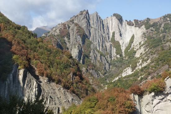 Azerbaijan, Sheki. A Rocky Cliffside Outside of Sheki-Alida Latham-Photographic Print