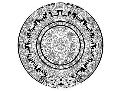 Aztec Calendar Coloring Art--Coloring Poster