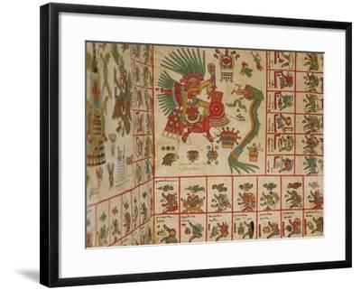 """Aztec Codex Borbonicus, """"Tonalamatl"""", Detail Depicting Quetzalcoatl and Tezcatlipoca--Framed Giclee Print"""