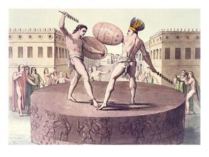 Aztec Combat on the Tizoc Sacrificial Stone at the Eagle Warriors Temple at Templo