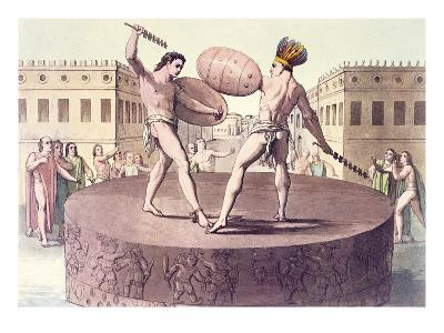 Aztec Combat on the Tizoc Sacrificial Stone at the Eagle Warriors Temple at Templo--Giclee Print
