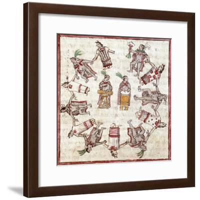 Aztec Dancing to the Rhythm of Drums Taken from the History of the Indies--Framed Giclee Print