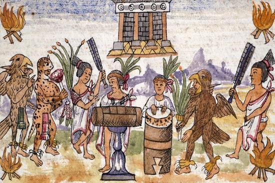 Aztec Feast in an Illustration Taken from the History of the Indies--Giclee Print