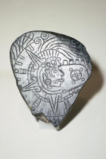 Aztec Jade Pendant of Solar God Tonatuih, 1300-1521-Unknown-Giclee Print