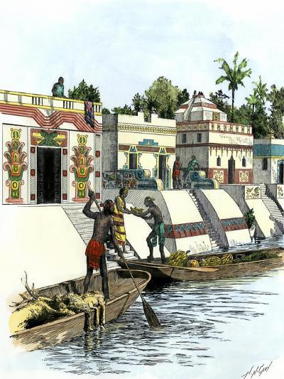 Aztec Merchants on a Canal in Tenochtitlan before the Spanish Conquest--Giclee Print