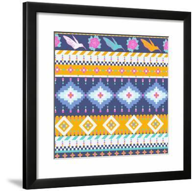 Aztec Pattern-tomuato-Framed Giclee Print