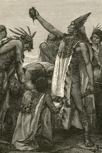 Aztec Priest Holding Heart from Human Sacrifice, 1892