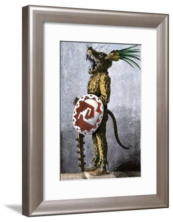 Aztec Tiger Knight in a Costume of Cotton and a Helmet Made of Wood, from a Model in Spain--Framed Giclee Print