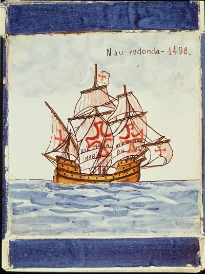 Azulejos Tile Depicting a Ship, from Sagres, 1498--Giclee Print