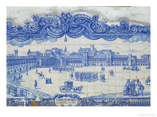 Azulejos Tiles Depicting the Praca Do Comercio, Lisbon--Giclee Print
