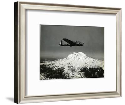 """B-17 """"Flying Fortess"""" Bomber over Mt. Rainier, 1938--Framed Giclee Print"""