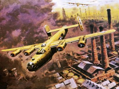 B-24 Liberator Bombers Doing Service in World War Ii-Graham Coton-Giclee Print