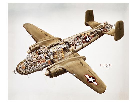 B-25H Mitchell Bomber Layout--Art Print