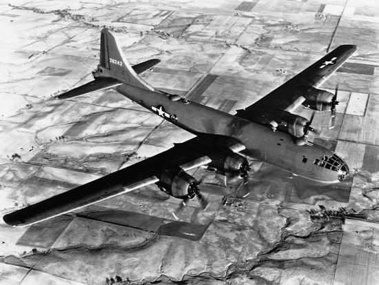 B-29 Flying over Japan's Countryside--Photographic Print