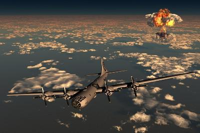 B-29 Superfortress Flying Away from the Explosion of the Atomic Bomb--Art Print