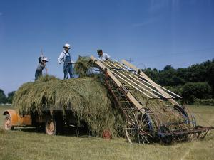 Farmers Work with a Machine to Make Hay Bales by B.Anthony Stewart