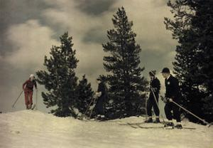 Four People Ski at Soda Springs by B. Anthony Stewart