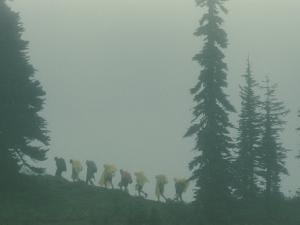 Silhouette of Girl Scouts Hiking Along a Mountain Trail in the Fog by B^ Anthony Stewart
