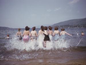 Women Splashing into Lake George by B^ Anthony Stewart