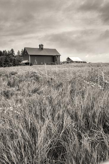 B&W of Farm Field and Barn.-gjphotography-Photographic Print