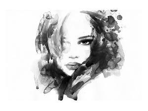B&W Woman Face Illustration