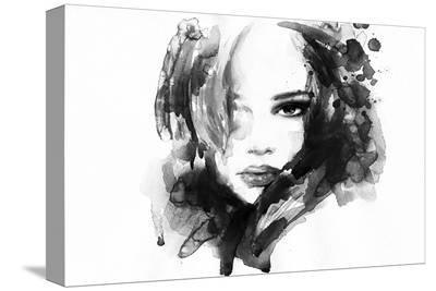 B&W Woman Face Illustration--Stretched Canvas Print