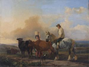 Landscape with Figures and Cattle by B. Wall