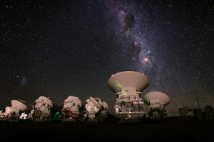 Alma Telescopes Photographed with a Special Deep Sky Filter to Reveal the Nebulosity in the Sky by Babak Tafreshi