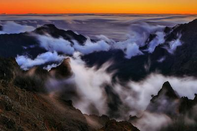Clouds Form in the Caldera De Taburiente in a Time-Exposure Image