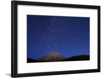 Constellations Cassiopeia and Andromeda Above Mount Damavand with a Mushroom-Shaped Cloud Cap