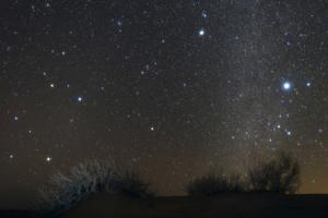 Constellations Leo and Hydra; the Milky Way; Saturn; Bright Stars Sirius and Procyon, over Desert by Babak Tafreshi