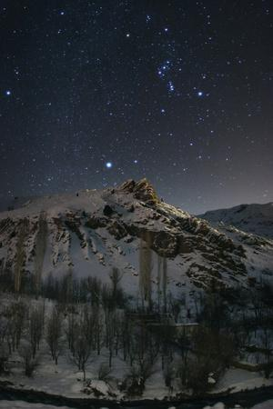 Constellations Orion and Canis Major, with the Bright Star Sirius, over the Alborz Mountains
