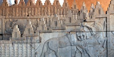 Eastern Stairs of Apadana Palace with Zoroastrian Symbol of Lion and Bull Fighting, the New Year by Babak Tafreshi