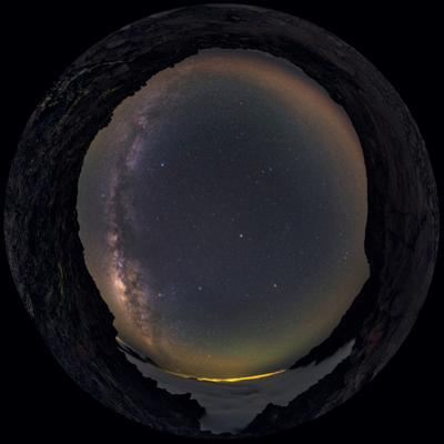 Fisheye View of the Milky Way in the Starry Sky Above La Palma Island